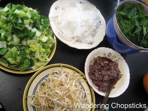 Banh Uot Xao Bo (Vietnamese Wet Rice Noodle Sheet Stir-fry) with Beef, Bok Choy, Broccoli, Bean Sprouts, and Spinach 2