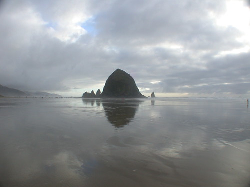 Haystack Rock Mirrored in The Pacific Ocean