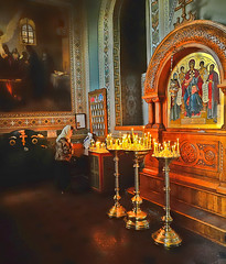 Lady Praying at an Orthodox Church (episa) Tags: church lady zeiss 35mm nikon icons candles praying orthodox distagon zf d700