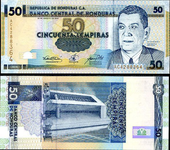 HONDURAS 50 LEMPIRAS 2001 P 88
