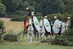 Romans Soldiers, Roman Army Mounted on Horseback, Ermine Street Guard (Steve Greaves) Tags: red horses italy rome field leather silver army gold countryside italian ancient war uniform catchycolours dress arms roman juliuscaesar sandals military helmet battle horsemen event riding hedge mounted sword imperial conflict soldiers historical shield warriors recreation armour period invasion reenactment horseback troops romanempire reenactors equine authentic legion romans invading armoury reconstruction invaders cohort legionary gallop riders spear horseman livinghistory reenacting warfare breastplate englishheritage kelmarsh erminestreetguard romansoldiers gladius battledress romanarmy kelmarshhall paxromana nikond300 fightingforce 43ad