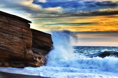 Rock splash (Theophilos) Tags: sea sky beach clouds landscape rocks waves greece crete splash rethymno triopetra        akoumia