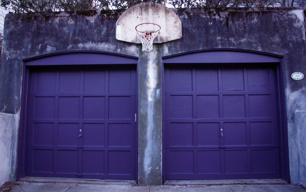 purple doors and a hoop