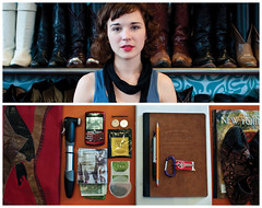 Beth Diptych (J Trav) Tags: portrait money pen pencil keys persona mac diptych shoes phone tea wallet newyorker purse whatsinyourbag quarters hairpin bikepump compositionbook theitemswecarry