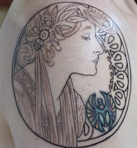 alphonse mucha tattoo. My Muchaamp;#8217;s Job Tattoo. My Mucha#39;s Job Tattoo Start of Mucha Arm Tattoo with