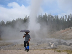 Tim shows why you always need an umbrella with you in Yellowstone.