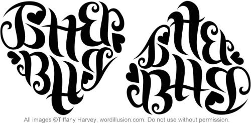 """""""Jitterbug"""" Heart Ambigram"""