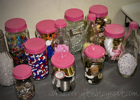 glass jars painted lids organization crafts