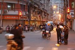 Shanghai - Fujian Road (cnmark) Tags: china shanghai huangpu district fujian road dusk street traffic light cliche stereotype motorcycle bicycle movement old building 中国 上海 黄浦区 福建路 ©allrightsreserved geo:lat=31241173 geo:lon=12147443 geotagged mygearandme mygearandmepremium mygearandmebronze motionblur bewegungsunschärfe