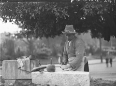 Stonemason at work on park wall at Hyde Park, 11 July 1937, by Ted Hood (State Library of New South Wales collection) Tags: blackandwhite tree hat leaves stone sweater mason tools apron block chisel tedhood