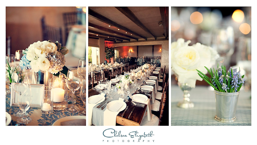 romantic vintage lavendar and white floral centerpieces family style long tables at La Venta Inn