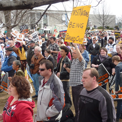 photo of of crowd protesting the NB Power deal.