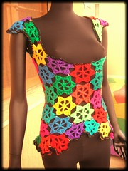 Rainbow Flowers Crochet Vest With Sequins (babukatorium) Tags: pink flowers blue red orange black flower color green art lana wool fashion yellow rainbow furry funny purple handmade lace turquoise crochet moda violet style hexagon romantic hippie vest fiori psychedelic sequins fiore arcobaleno multicolor gilet maglia ruffle sequin haken asymmetric hkeln emeraldgreen croch ganchillo colete chaleco fuxia uncinetto fattoamano lam  tii horgolt uvgreen babukatorium