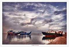 The Port ! (Damon | Photography) Tags: blue sea sky cloud seascape color reflection beach water colors clouds port landscape boats photography boat photo high nikon dynam