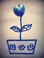 Cultivating love-seed ( Minnie | Photography ) Tags: blue flower tree love heart grow draw seedling cultivating flickraward flickrestrellas