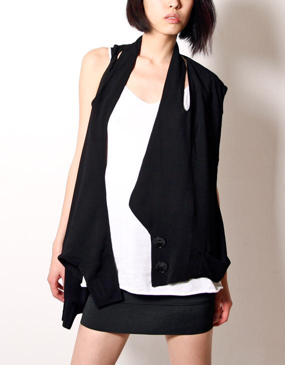 kaylee tankus black drape side vest