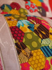 three lovely pillows (joontoons) Tags: handmade sewing pillow hexagon pincushion patchwork florafauna paperpiecing quitling englishpaperpiecing pattyyoung joontoons