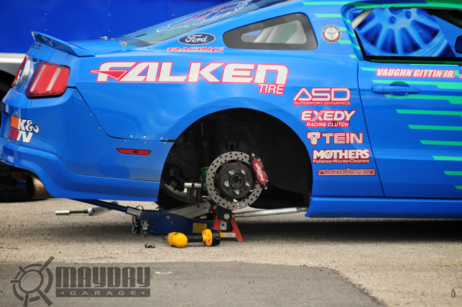 Changing tires on the Falken Mustang was a common sight to see. DD