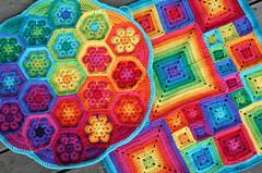 African Flower and Babette cushions (rettgrayson) Tags: wool rainbow spectrum handmade crochet colourful babette africanflower biggandesign rettgrayson