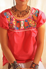 Mexican Pink floral embroidered blouse (Aida Coronado Galeria) Tags: bird love mexicana vintage mexico dress peacock clothes mexican dresses hippie embroidered vestido whimsical huichol hermosos bunnie bordados blouses tipica mexicandress ropamexicana bordadomexicano aidacoroando