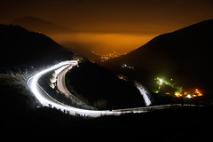 Rally Citt dei Mille by night - Selvino (BG) (Pierpaolo.) Tags: auto road longexposure november autumn trees red people italy mist mountain fall cars car sport fog alberi speed corner lights evening europa europe strada italia novembre village corse competition ps racing persone ps1 nebbia autunno plain asfalto bergamo montagna 2009 notte supporters velocit automobilismo pianura salita curva fari tifosi paese macchine scia competizione canoneos30d tornante nembro manfrotto190xprobtripod manfrotto486rc2head montemisma giessepromotion canon17851785mmisusm provaspecialenotturna trevascosanvito