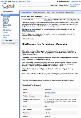 Wufoo iPad Email