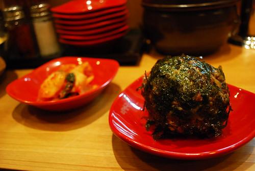 riceball and kimchi