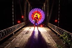 Evolved Cognitive Mechanisms (Dennis Calvert) Tags: wood longexposure bridge light red lightpainting art silhouette night canon circle steel alabama xsi lapp sooc 450d denniscalvert photonmancer