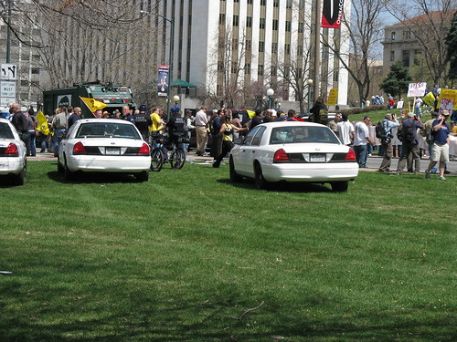 Police Presence at the Denver Tax Day Tea Party Counerprotest