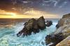 Pinnacle Rock #3 - Point Lobos, California (PatrickSmithPhotography) Tags: ocean california travel sunset sea vacation sky seascape beach nature rock fog sunrise canon landscape monterey sand wave carmel 5d pointlobos stratus mkii pinnaclerock joby gorillapod 5dmkii photocontesttnc10