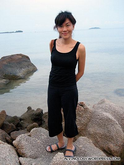 Rachel standing on a rock