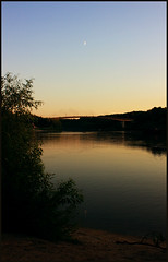 Desna (AnkhaiStenn) Tags: bridge sky moon water river mirror bush russia wave ukraine luna russian ukrainian desna chernigov