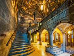 A Hogwart's Staircase (kern.justin) Tags: chicago stone stairs photography high nikon university dynamic interior gothic columns harry potter bookstore coop neo celing railing hogwarts seminary range hdr theological d700 kernjustin wwwthewindypixelcom chicogwarts