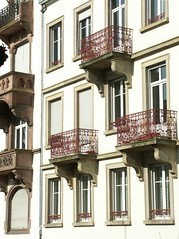 Strasbourg - balconies (Iro {Ivy style33}) Tags: trip light red white france building architecture balcony strasbourg balconies traditionalcharm bergandy shortweekend