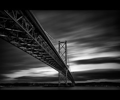 The First Date (Chee Seong) Tags: road uk bridge light sea bw white black water clouds canon mono evening scotland movement edinburgh long exposure grain forth shore nd dodge firth queensferry canon1740mm 10stops 5dm2
