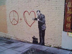 banksy (caughtyouhoney) Tags: sf sanfrancisco usa love graffiti peace banksy doctor bvrs exitthroughthegiftshop