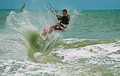 Cut it out! (VictorEleuterio) Tags: ocean blue sea brazil kite beach water yellow brasil sand surf wind kitesurfing kitesurf ceara cumbuco