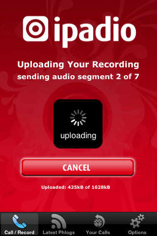 Phonecasting with iPadio - Uploading a recording