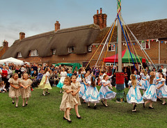 Children perform the Maypole Dance at the 2010 Downton Cuckoo Festival, Wiltshire