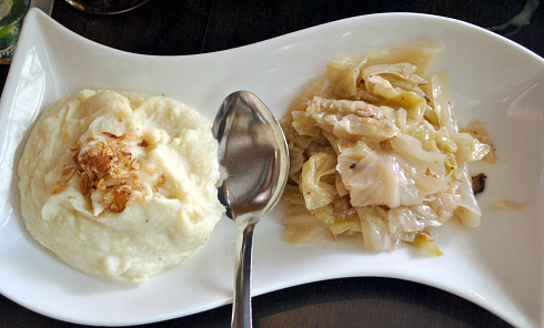 mash potatoes and steamed cabbage
