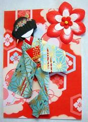 ATC275 - Mika (tengds) Tags: blue red flower atc gold sticker kimono obi papercraft japanesepaper washi ningyo handmadedoll handmadecard chiyogami starpattern kimonopattern yuzenwashi japanesepaperdoll nailsticker washidoll origamidoll tengds