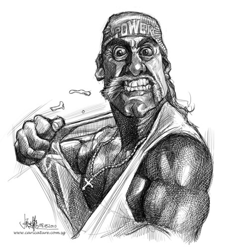 digital sketch of Hulk Hogan