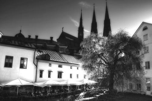 Uppsala. La catedral desde el río. B&W.