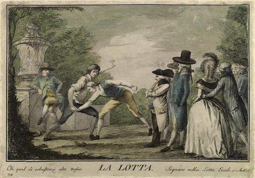 020-La lucha- Giuochi Trattenimenti e Feste Annue Che si Costumano in Toscana 1790- Giuseppe Piattoli