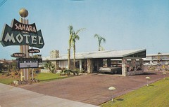 Sahara Motel postcard Anaheim CA (hmdavid) Tags: california sahara disneyland postcard motel roadside anaheim googie knottsberryfarm midcentury