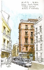 Mlaga, Puerta Nueva (Luis_Ruiz) Tags: architecture sketch spain drawing andalucia andalusia dibujo malaga mlaga urbansketchers