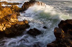 Waves and Rocks, Pescadero State Beach, CA (Sudheendra Kadri) Tags: ocean california longexposure light sunset sea seascape beach nature water northerncalifornia rocks waves crash pescadero sudhi pescaderostatepark canon7d sudheendrakadri