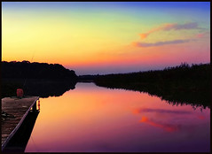 ...fishing on golden pond... (zio paperino) Tags: sunset sky lake color reflection nature cl