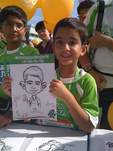 caricature live sketching for Cold Storage Kids Run 2010 - 5