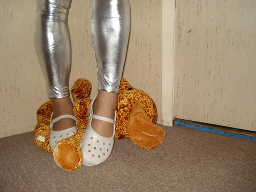 White Crocs mary janes